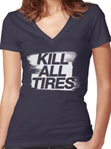 Kill All Tires (5) Women's Fitted V-Neck T-Shirt
