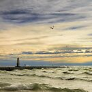 A stormy late afternoon Frankfort Harbor Michigan by woodnimages