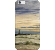 A stormy late afternoon Frankfort Harbor Michigan iPhone Case/Skin
