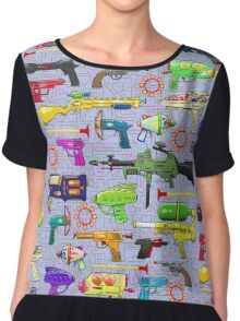 Vintage Toy Guns Chiffon Top