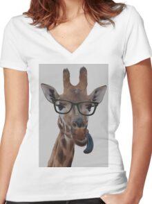 Geek Giraffe Women's Fitted V-Neck T-Shirt