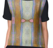 Gold and Pink Abstract Chiffon Top