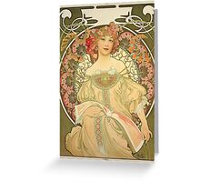 'Obraz' by Alphonse Mucha (Reproduction) Greeting Card