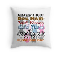 DAY WITHOUT DOG HAIR, WET KISSES, COLD NOSES, WAGGING TAILS - BAD Throw Pillow