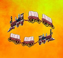 Steam Wagon Train - pillow & tote design by Dennis Melling