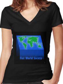 FLAT WORLD SOCIETY Women's Fitted V-Neck T-Shirt