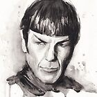 Spock Star Trek Art Watercolor Painting by OlechkaDesign