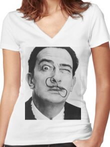 avida dollar = Salvador Dali portrait - 1 figure face Women's Fitted V-Neck T-Shirt