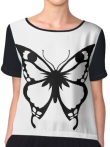 0743 Black and White Butterfly Chiffon Top