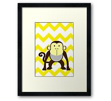Monkey Baby Room - Yellow - Gray Framed Print