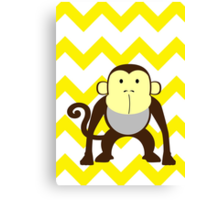 Monkey Baby Room - Yellow - Gray Canvas Print