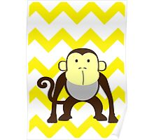 Monkey Baby Room - Yellow - Gray Poster