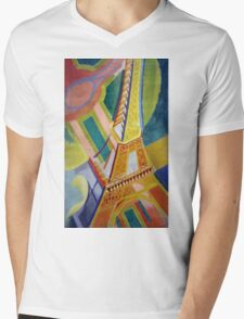 in the style of Robert Delaunay - 2 - Eiffel tower Mens V-Neck T-Shirt