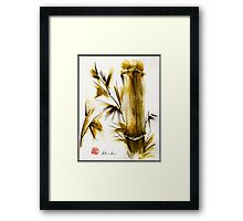 """Morning Light"" Original acrylic and ink bamboo painting. Framed Print"