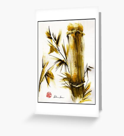 """Morning Light"" Original acrylic and ink bamboo painting. Greeting Card"