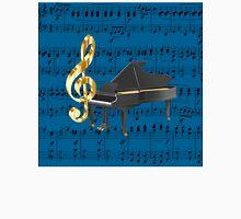 Grand Piano Gold Treble Clef Blue Sheet Music Unisex T-Shirt