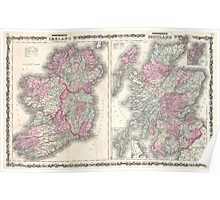Vintage Map of Ireland and Scotland (1862) Poster