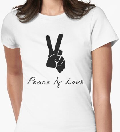 Peace & Love - Peace Sign Victory Hand Signal  Womens Fitted T-Shirt