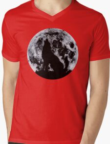 Wolf And Moon Mens V-Neck T-Shirt