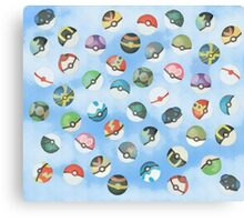 Pokeball Variants Scatter Pattern Canvas Print
