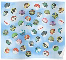 Pokeball Variants Scatter Pattern Poster