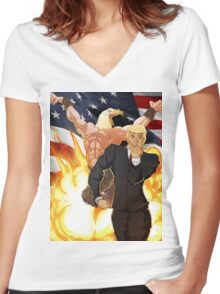 Trump's Bizarre Election - Jojo's Bizarre Adventure Trump Women's Fitted V-Neck T-Shirt