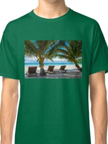 Sunbeds on exotic tropical palm beach Classic T-Shirt