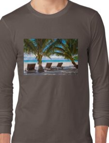 Sunbeds on exotic tropical palm beach Long Sleeve T-Shirt