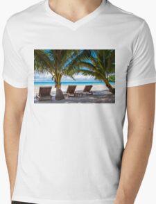 Sunbeds on exotic tropical palm beach Mens V-Neck T-Shirt