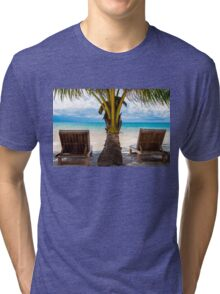Sunbeds on exotic tropical palm beach Tri-blend T-Shirt