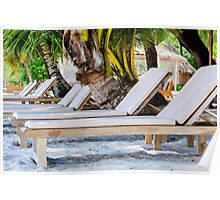 Sunbeds on exotic tropical palm beach Poster