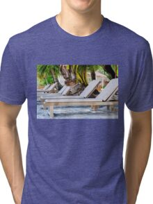 Sunbeds on exotic tropical palm beach Tri-blend T-Shirt