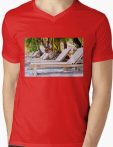 Sunbeds on exotic tropical palm beach Mens V-Neck T-Shirt
