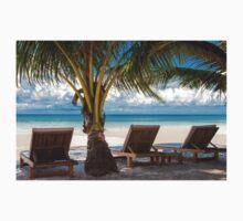 Sunbeds on exotic tropical palm beach T-Shirt