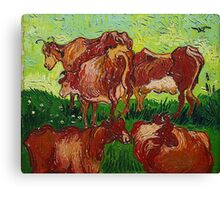 'Les Vaches' by Vincent Van Gogh (Reproduction) Canvas Print