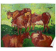 'Les Vaches' by Vincent Van Gogh (Reproduction) Poster