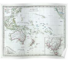 Vintage Map of Oceania (1862) Poster