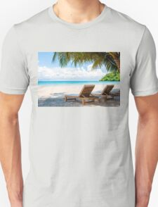 Sunbeds on exotic tropical palm beach Unisex T-Shirt