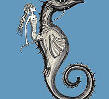 Mermaid and Seahorse by Fiona Lokot