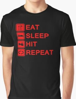 Drummer Eat Sleep Hit Repeat Graphic T-Shirt