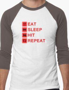 Drummer Eat Sleep Hit Repeat Men's Baseball ¾ T-Shirt