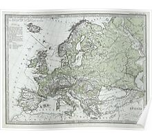 Vintage Map of Europe (1862) Poster