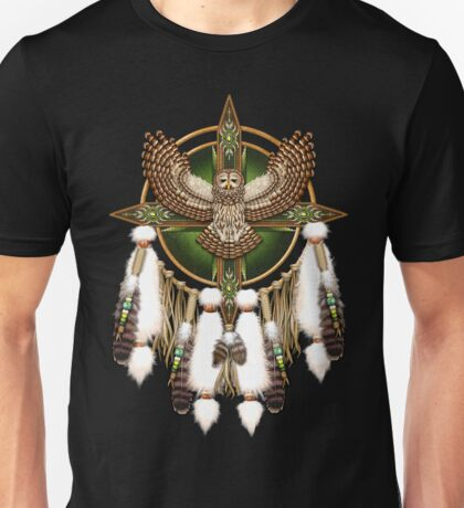Barred Owl Native American Mandala Unisex T-Shirt