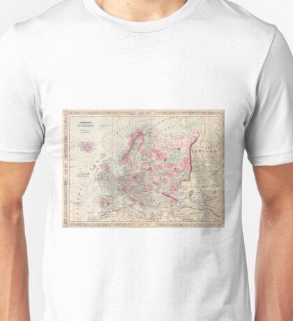 Vintage Map of Europe (1864) Unisex T-Shirt