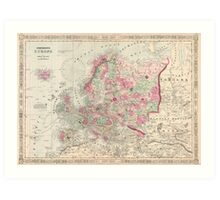 Vintage Map of Europe (1864) Art Print