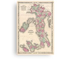 Vintage Map of Italy (1864) Canvas Print
