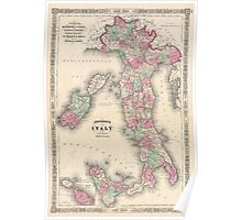Vintage Map of Italy (1864) Poster