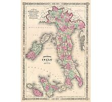 Vintage Map of Italy (1864) Photographic Print