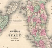 Vintage Map of Italy (1864) Sticker