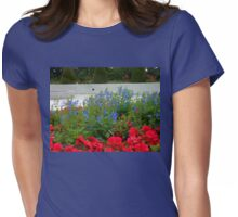 Flower Bed in front of Preston Temple Womens Fitted T-Shirt